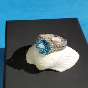 Blue Topaz & Diamond Ring in SS -Sz 7